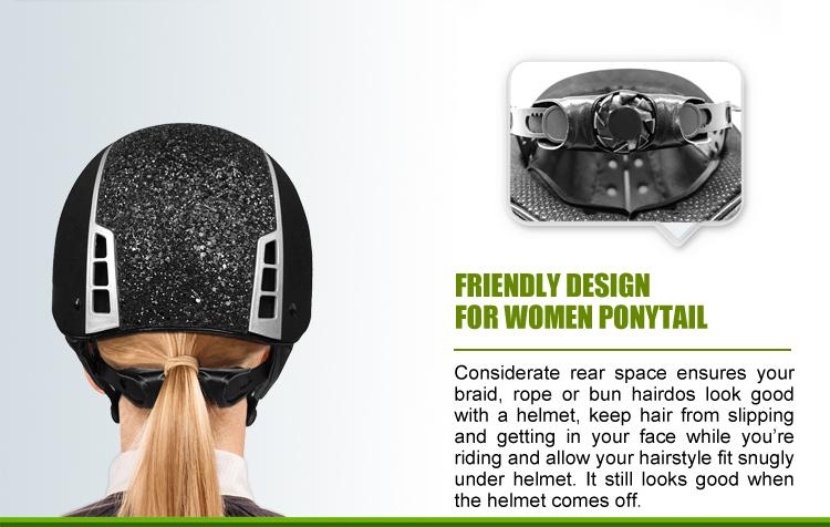 Elegant design ponytail friendly equestrian helmet 19