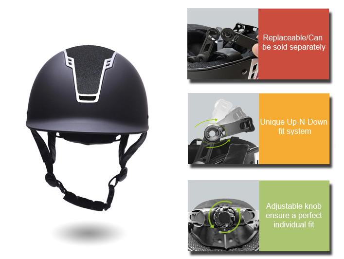 Newest Matte Black Crocodile Horse Riding Helmet 14