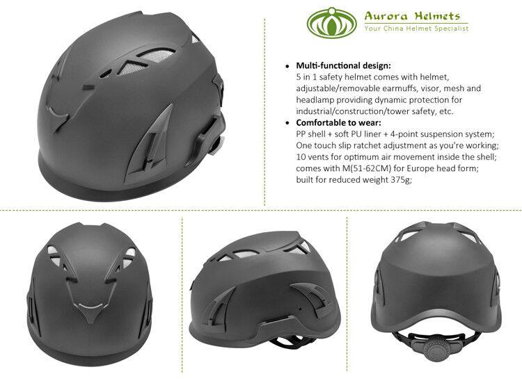 European Vertical Job Safety Helmet With Waterproof Headlight 8