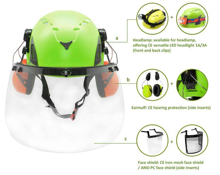 European Vertical Job Safety Helmet With Waterproof Headlight 16
