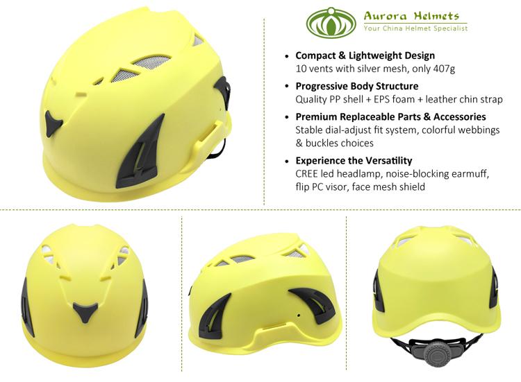 CE EN 397 approved Premium rigger helmet with LED lamp 3