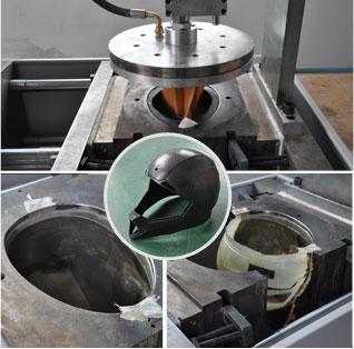 Carbon fiber helmet molded in vacuum forming