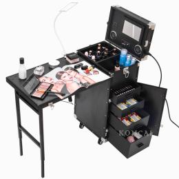 KONCAI 2 in1 Rolling Makeup Nail Station Nail Polish Table