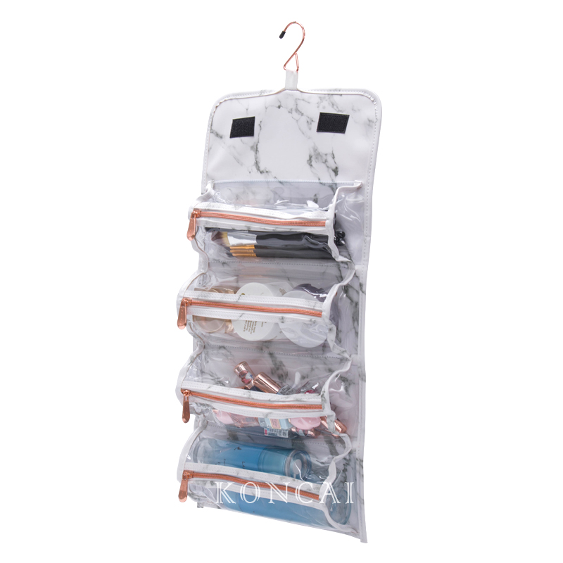 New White Marble Cosmetics Bag Rolls With Hook KC-PB026B