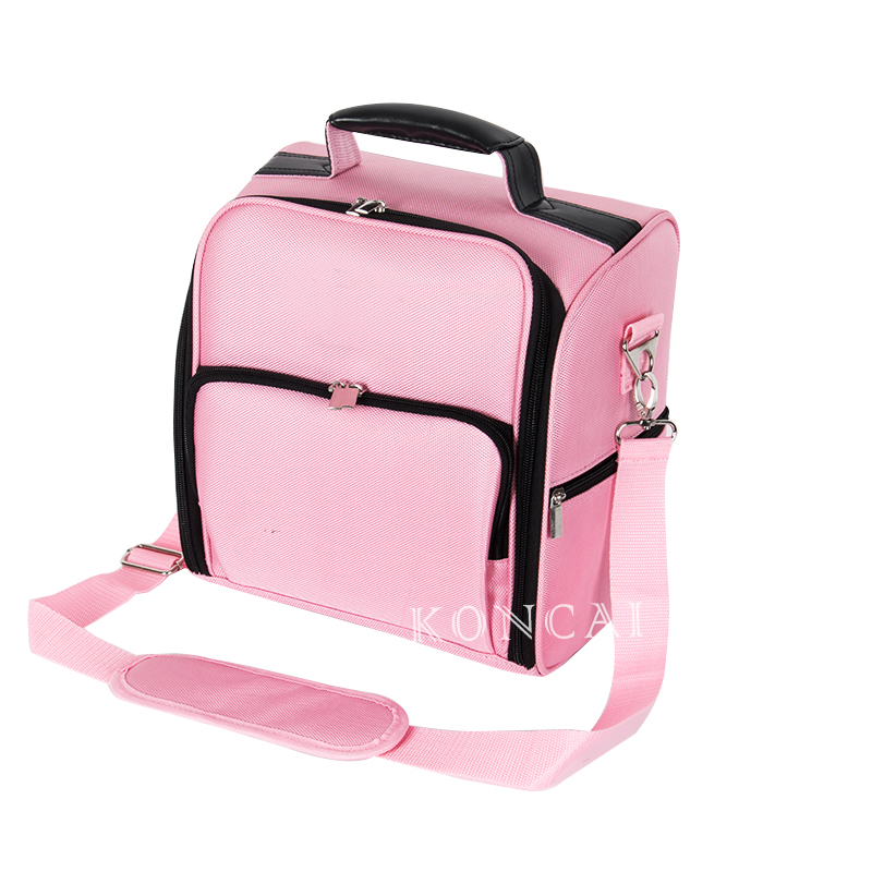 Nylon Carrying Makeup Case with Shoulder Strap KC-N27 Pink