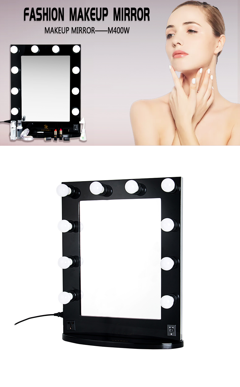 Wood Frame Hollywood Vanity Makeup Mirror KC-M400W Black without Bluetooth