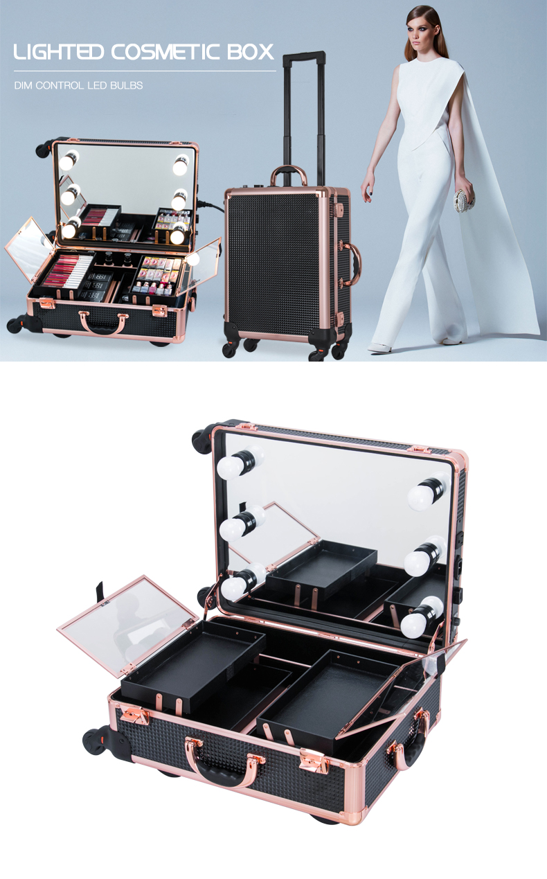 Best Quality Aluminum Makeup Case with lights mirror Trolley Beauty Case KC-58M