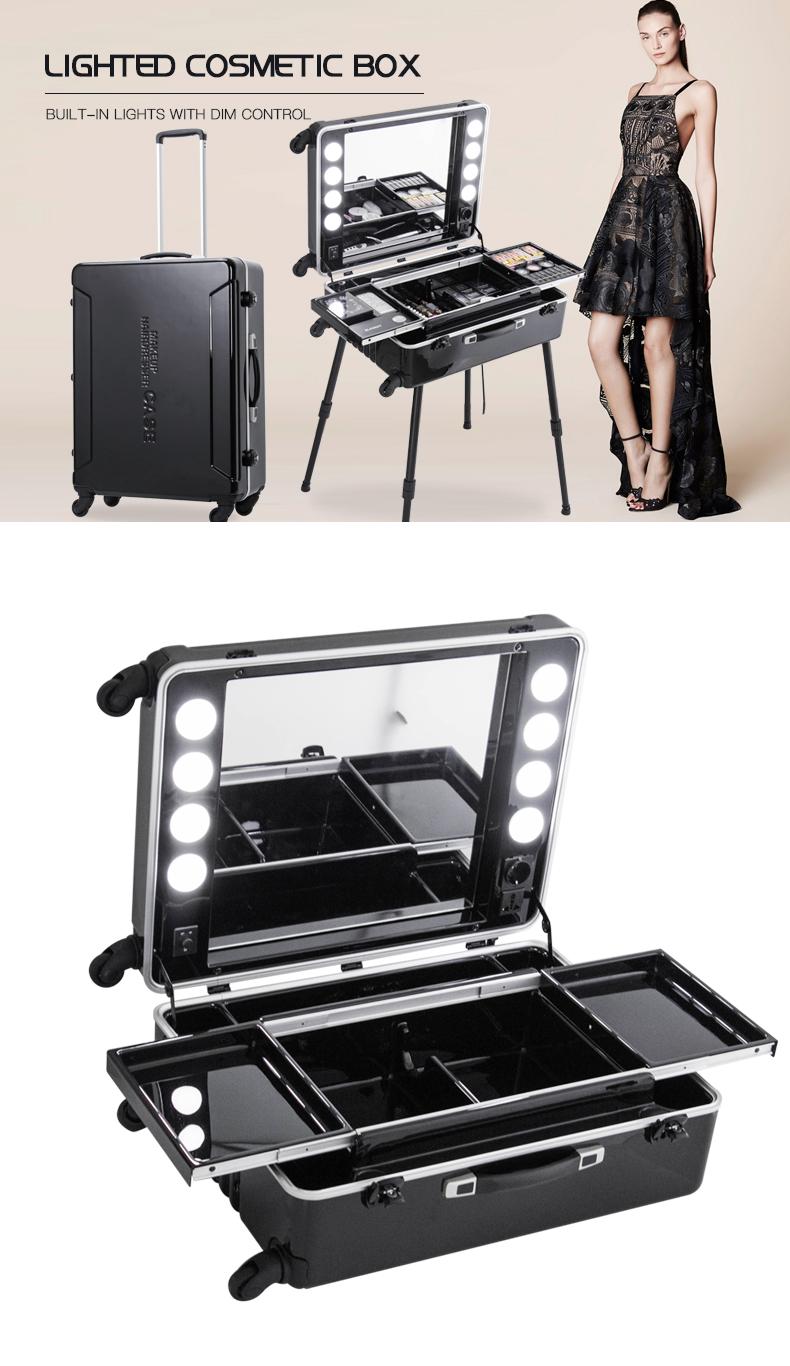 Black Large Size Makeup Trolley Case Station with 8 LED Lights KC-216