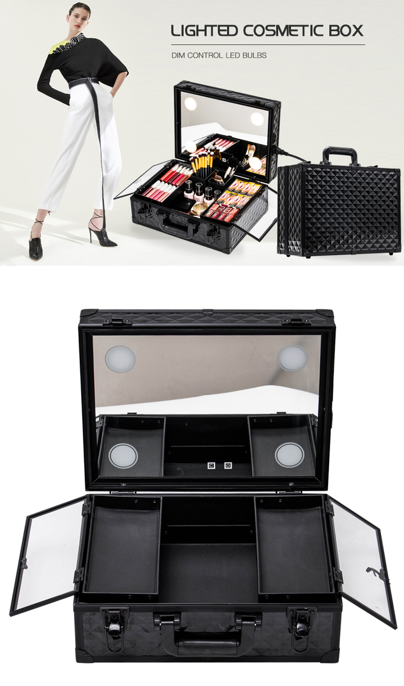 Water-cube Carrying Suitcase Beauty Valise Makeup Lighted Case KC-OF02