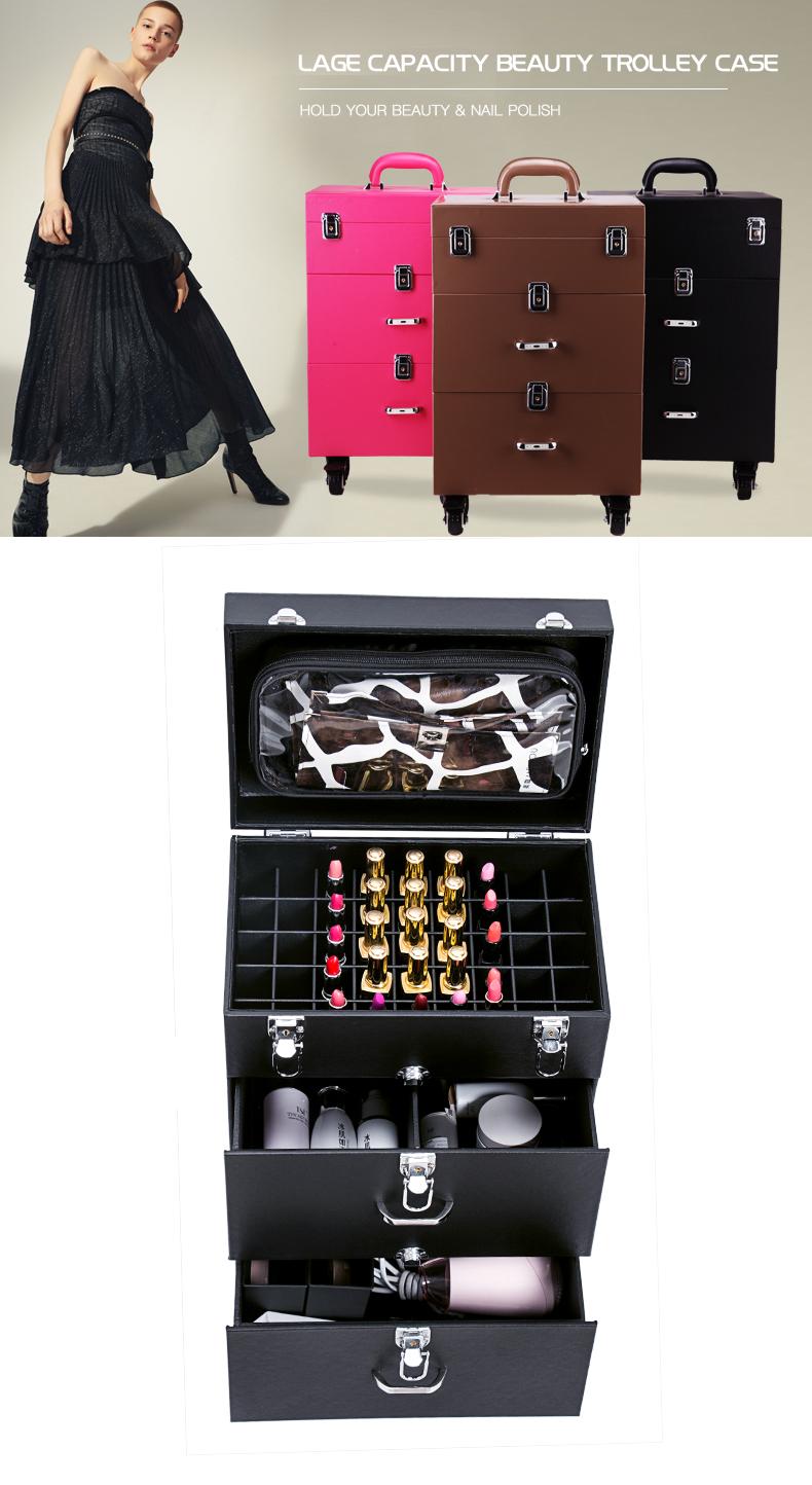 Nail Beauty Case Makeup Trolley Rolling Box Multifunction Salon Tool KC-399