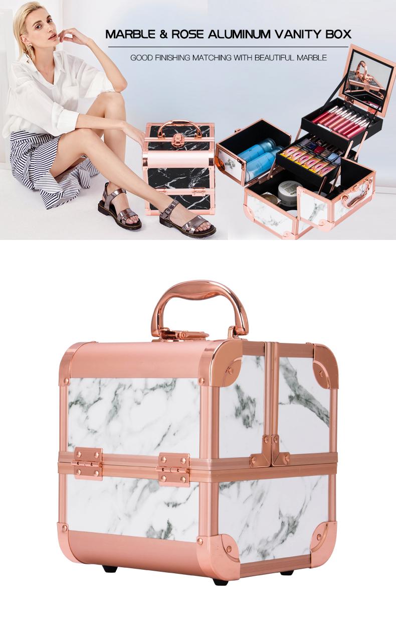 White & Black Marble Makeup Travel Case KC-MB152M
