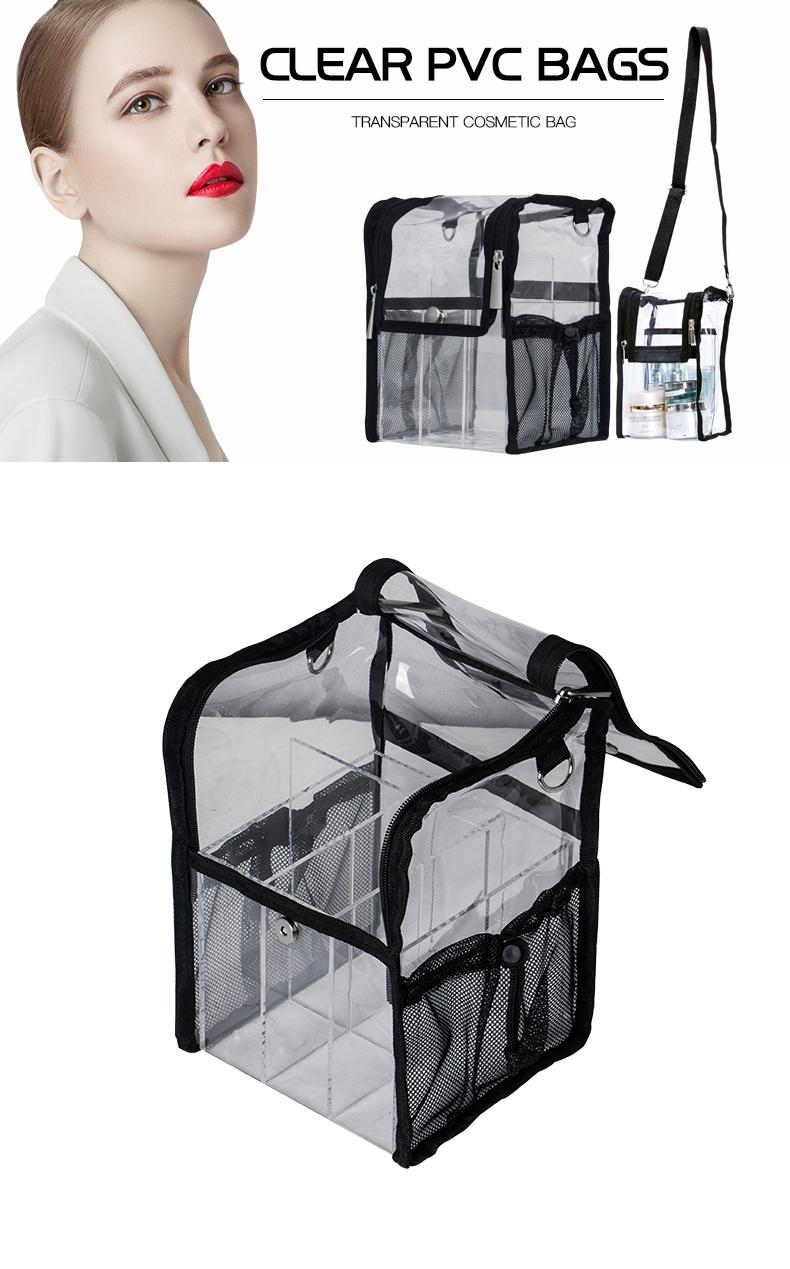 Eco-friendly Waterproof Travel Acrylic Organizer Cosmetic Shoulder Bag KC-PB029