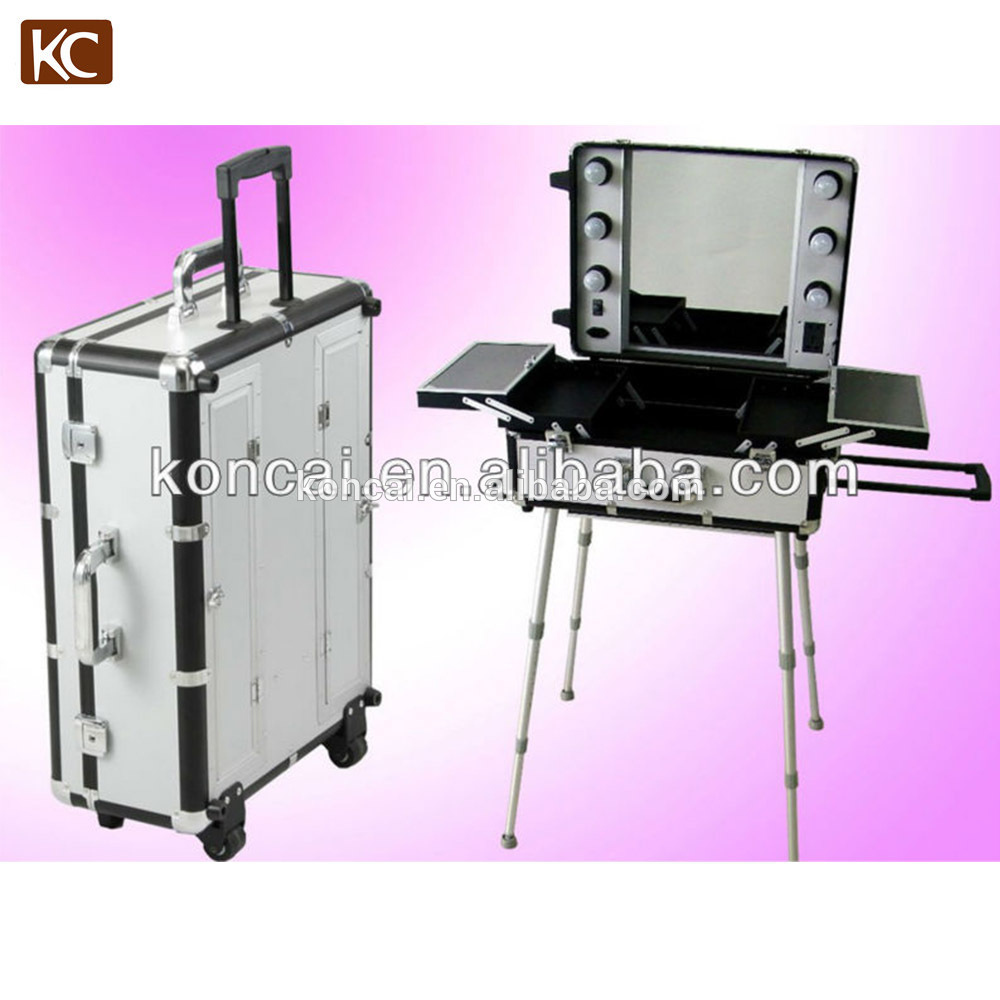 Professional hairdresser station mirror case made of fireproof board with trays