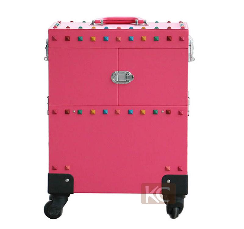 PVC /Aluminum professional makeup trolley case , professional cosmetic trolley case, 360 degree wheels &  style
