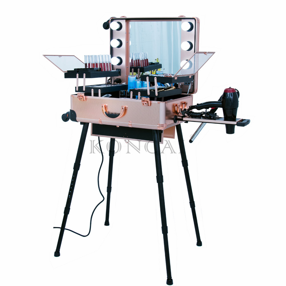 Professional-Mobile-Lighted-Makeup-Station-Aluminum-Trolley