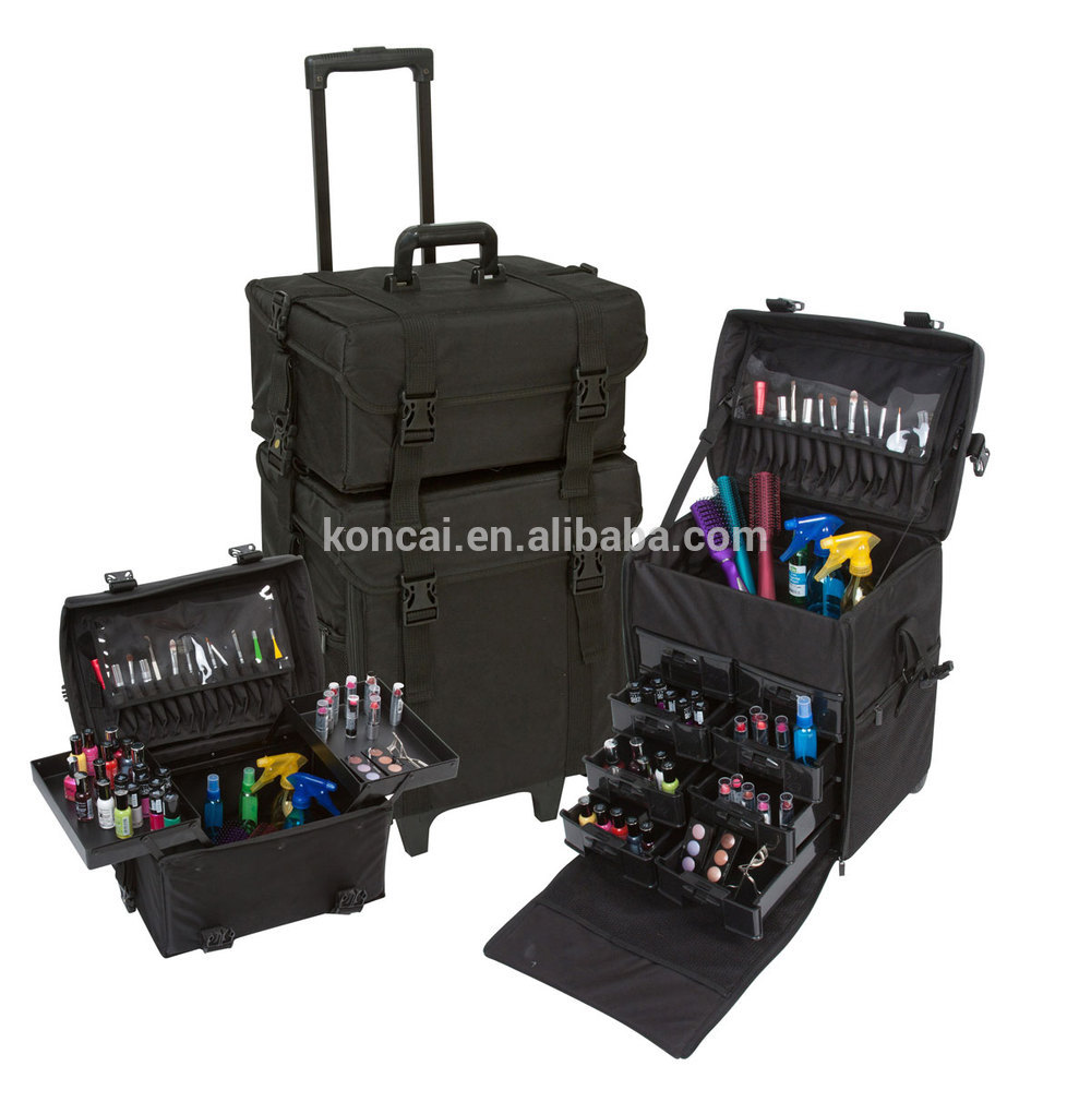 MOQ:1pc Professional makeup case empty cosmetic case with mirror PVC makeup case with lights 17