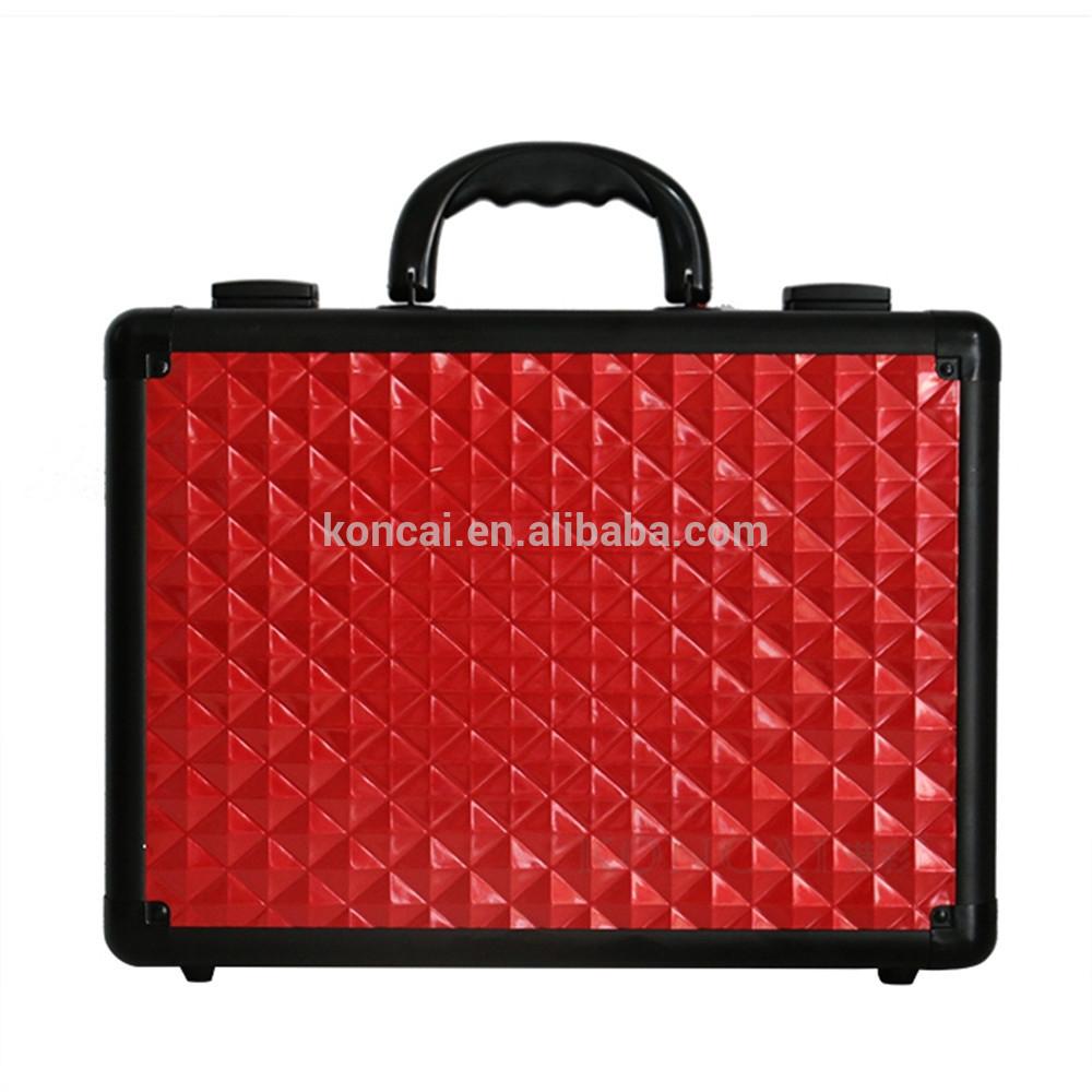 Portable Aluminum PU leather Carrying makeup case mirror suitcase