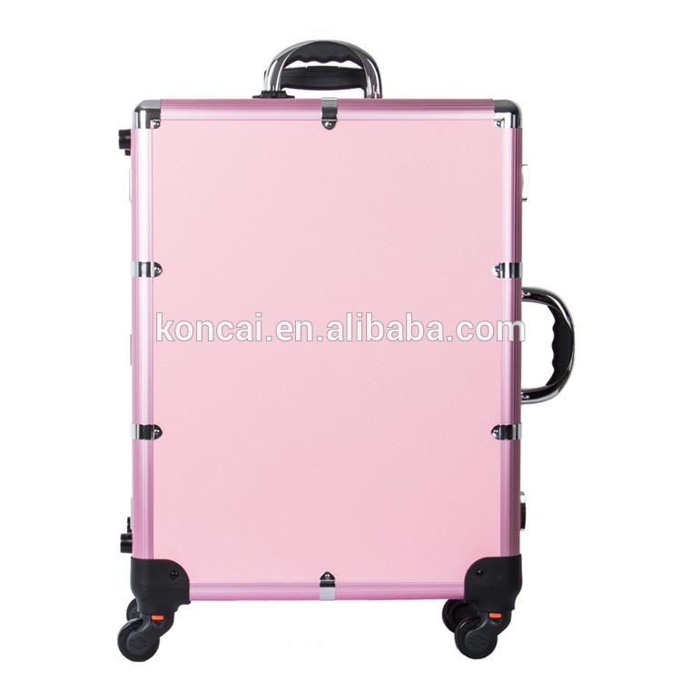 Beauty Salon Stations Aluminum Frame Multi-wheels Music Player Vanity Case 11
