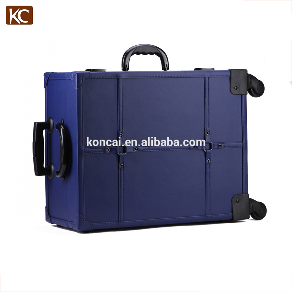 Professional train travel trolley lighting led cosmetic lighted makeup case