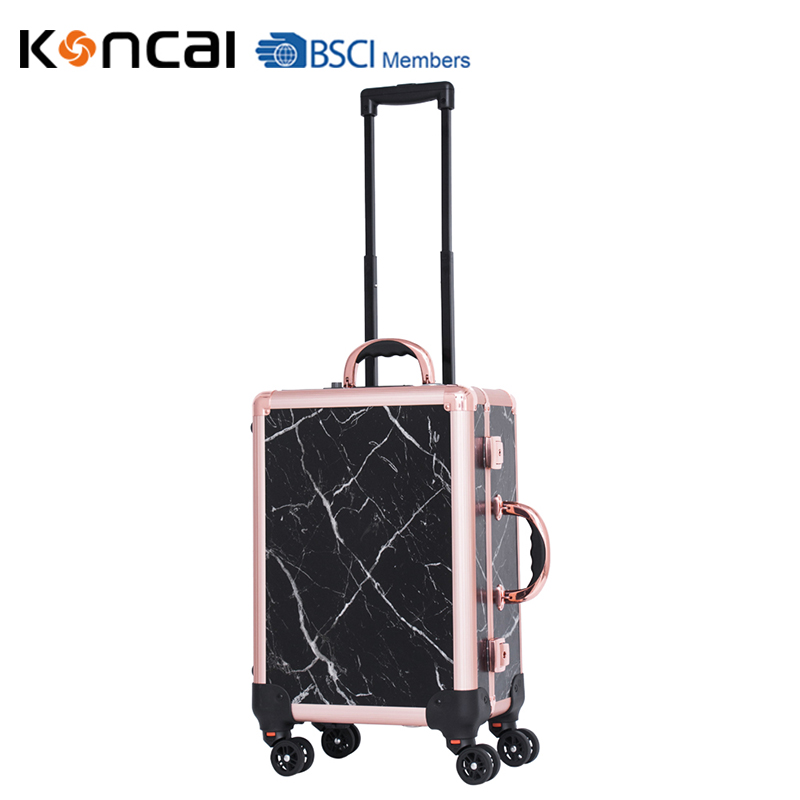 2019 Latest Marble Color Makeup Case With lights Makeup Trolley Beauty Case