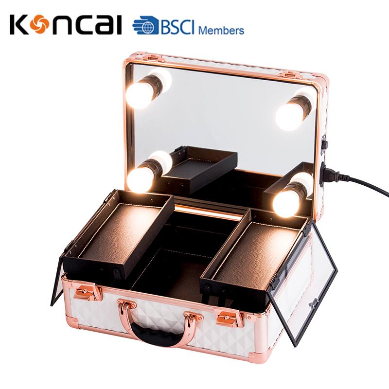 Koncai New Color Vanity Case with LED Lights Aluminum Suitcase Portable Makeup Case 17