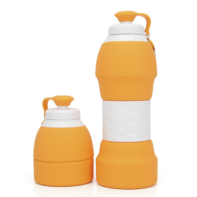 Colorful BPA Free 600ml Sport Silicone Water Bottle for Gym