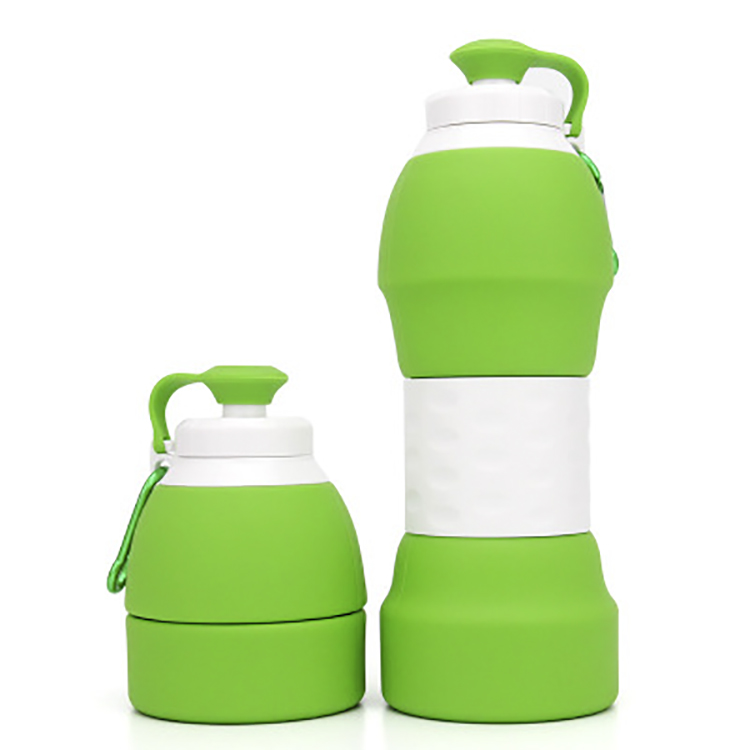 BPA Free Colorful 600ml Outdoor Hiking Collapsible Silicone Water Bottles