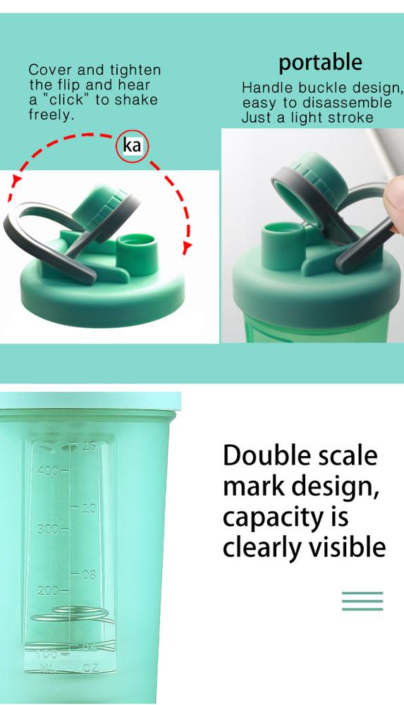 protein plastic mixing blender shaker water drink gym bottle 7