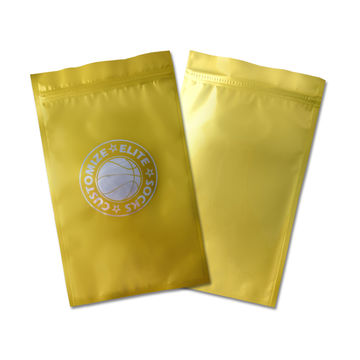 Custom Design Gold Mylar Zip Lock Bags Pouches With Clear Window Plastic Bag