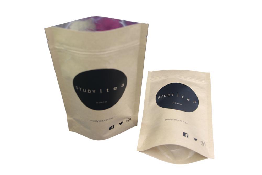 Wholesale ziplock stand up brown paper tea bag 13
