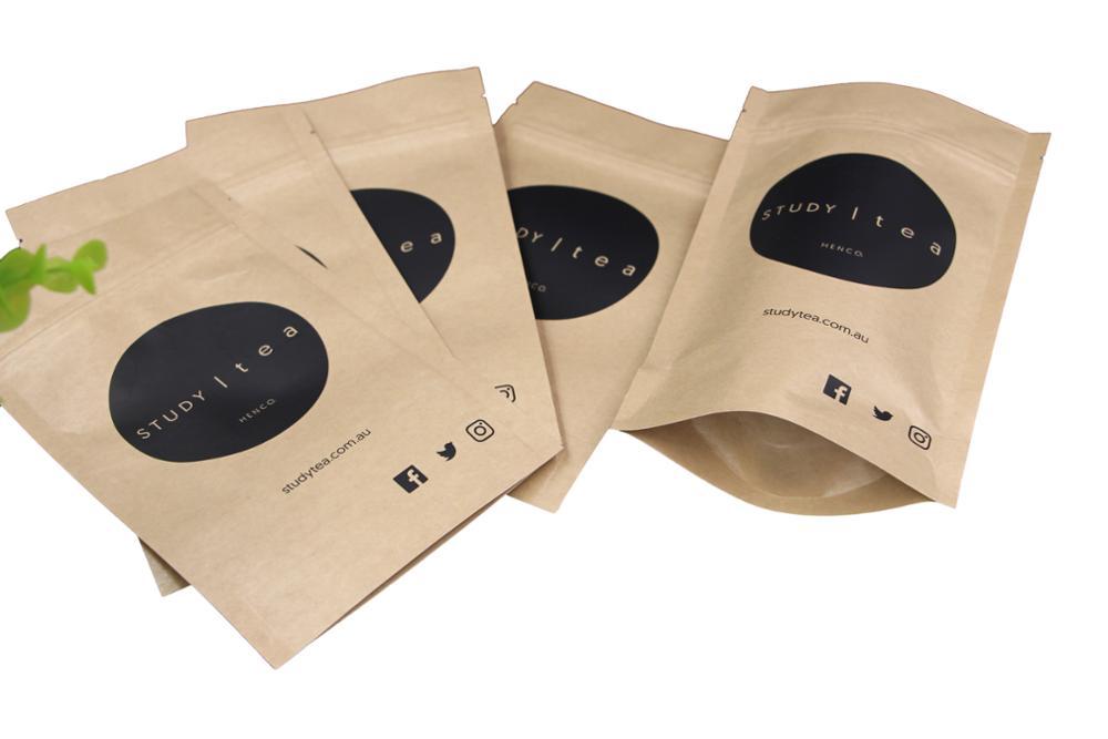 Wholesale ziplock stand up brown paper tea bag 17