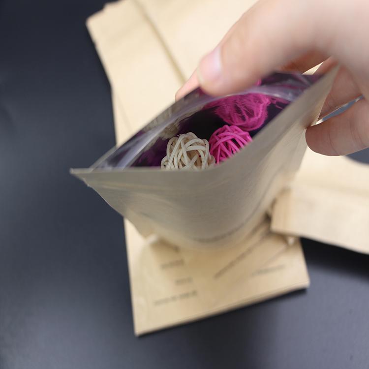 Recycled Printed Brown Paper Bag /Kraft Paper Bag with Ziplock 3