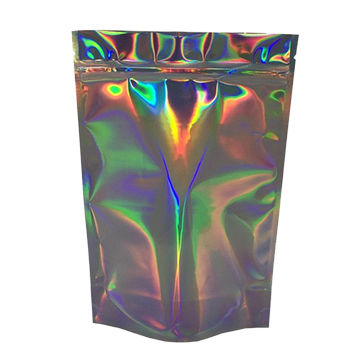 Plastic holographic laser film foil zip lock bags packed food snack with zipper and standing up