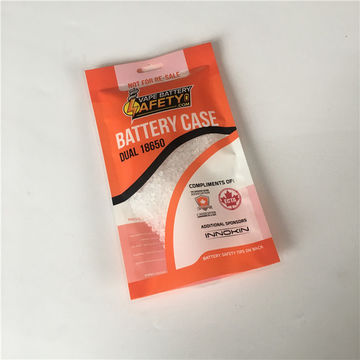 Plastic laminated battery packaging bags, bottom open with easy tear plastic bag