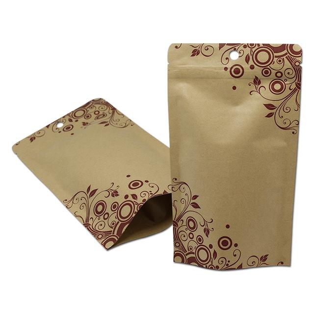 Stand Up Zip Lock Kraft Paper Aluminum Foil Packaging Bags for Food Snack Coffee Zipper ZipLock Doypack Packing Bags