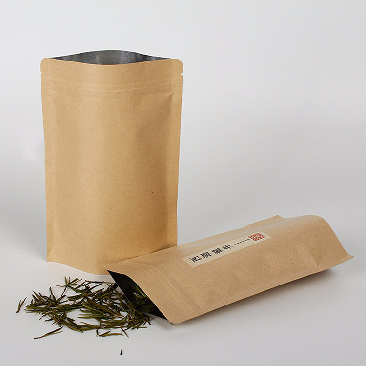 Hot Sell Food Safe Kraft Paper Tea Bag &Resealable Tea Packaging Bag