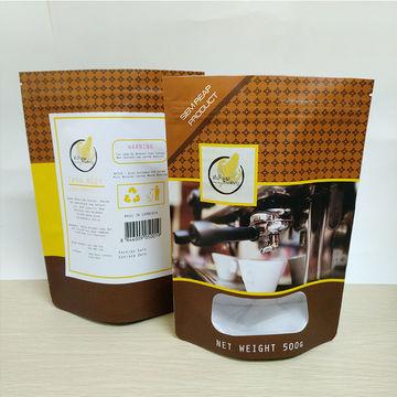 Coffee bag with valve custom printed Kraft paper bag with window plastic bag