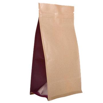 Hot sales zipper biodegradable block bottom kraft paper plastic bags for snack cookies