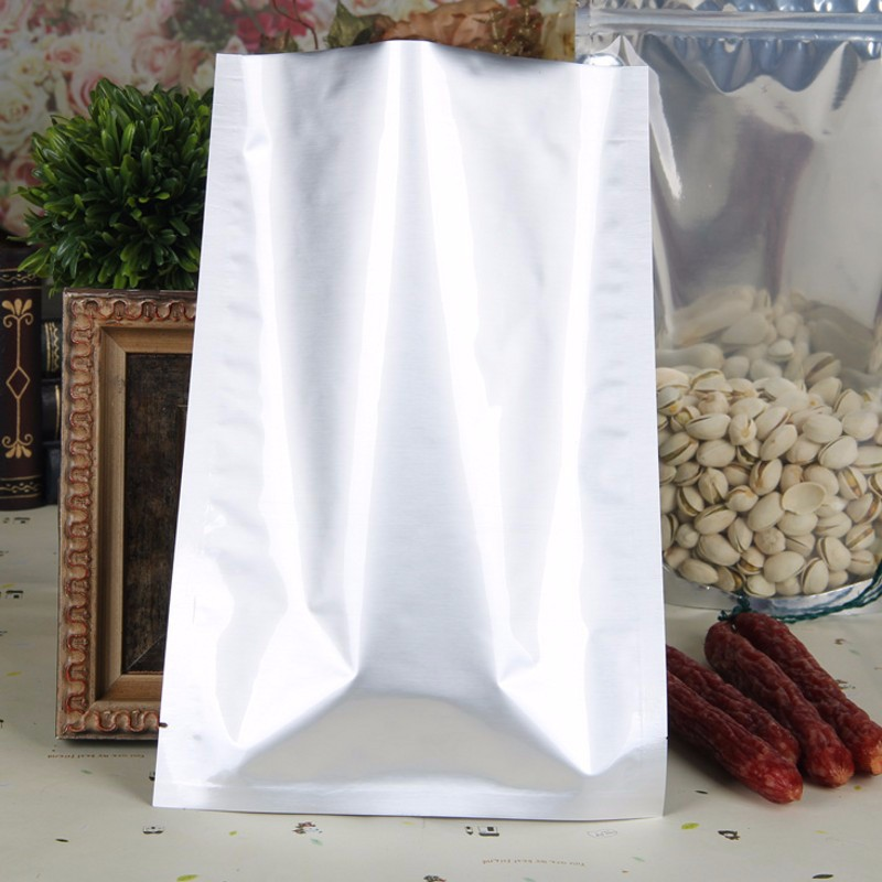 flat bag pure aluminum foil with tear notch food snack vacuum storage open top heat seal packaging plastic bags