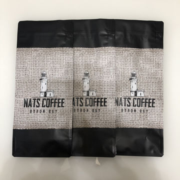 Matt black quad seal coffee pouches with E-zip and degassing valve plastic bag for coffee bags