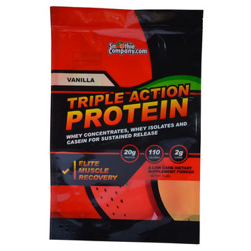 Reusable Stand Up Ziplock Pouch for Protein Powder Packaging custom printing open on bottom plastic bags