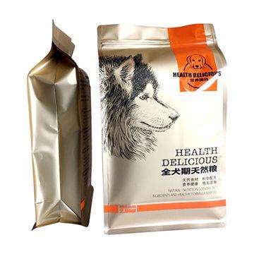 Block flat bottom easy opening pocket zipper stand-up pet food bag