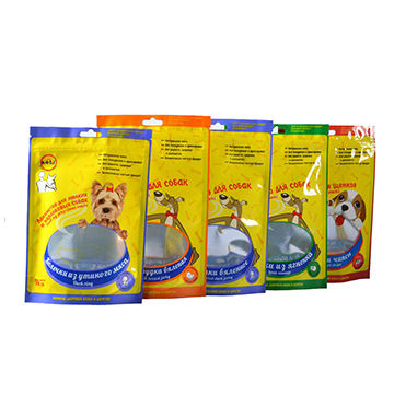 pet dog/cat food plastic packaging bag with zipper and euro hole stand up