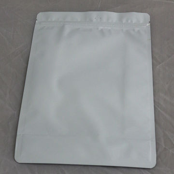 Milk white color for food packing with flat bottom stand up with zipper plastic bag