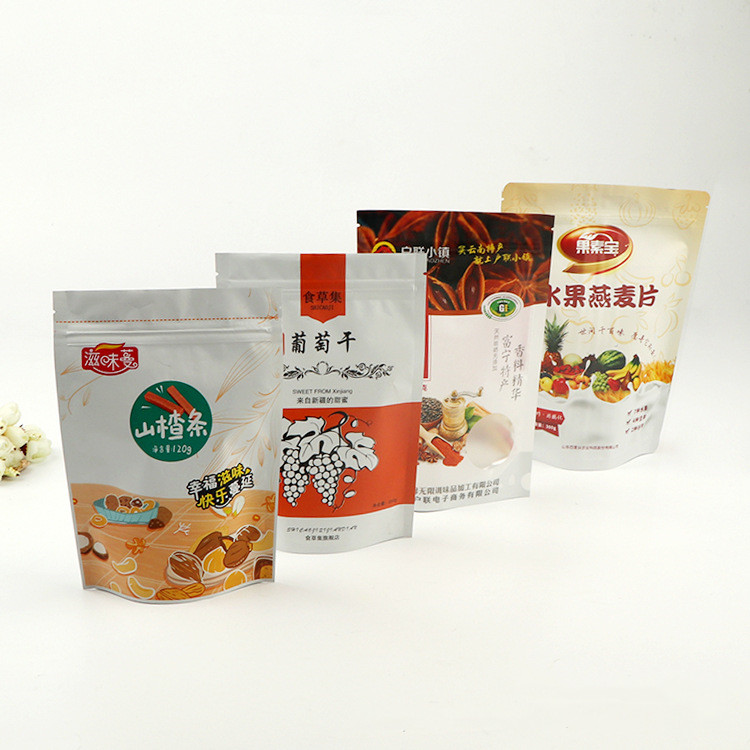 Custom dried fruit snack food three-sided sealed composite plastic stand-up with zipper plastic bag