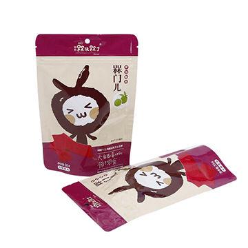 Custom printed stand up food packaging bags with ziplock