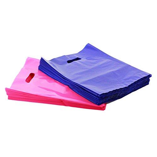 Pink and Purple Merchandise Bags, Die Cut Handles,Strong, Durable, PE handle plastic bags
