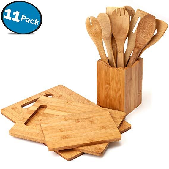 Wholesale 11-Piece Bamboo Wood Cutting Board Set With Bamboo Kitchen Utensil Set