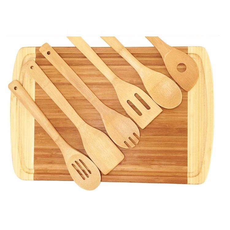 Bamboo Cutting Board Set With Bamboo Utensil