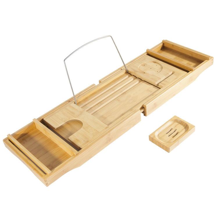 Non slip rustic wooden bath tray